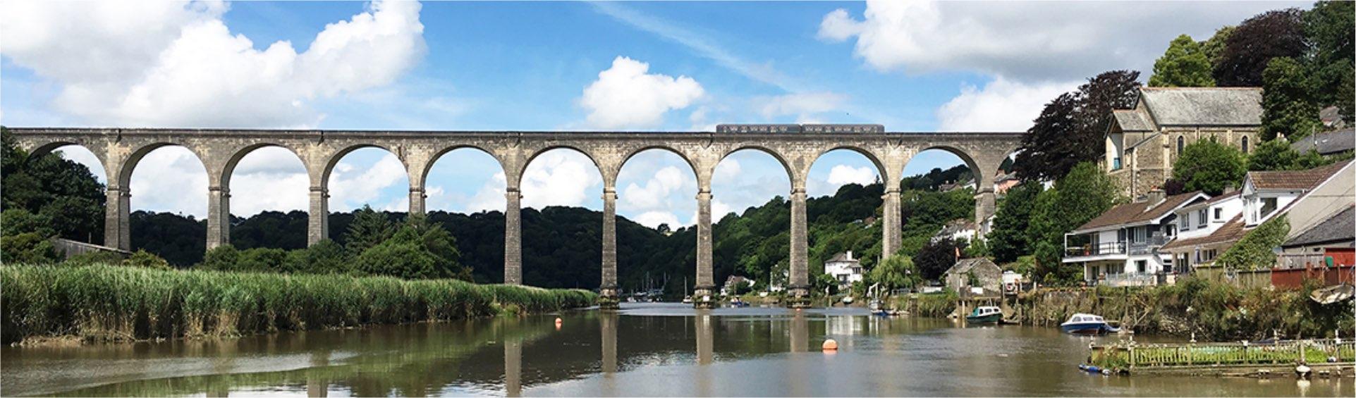 Viaduct bridge with train